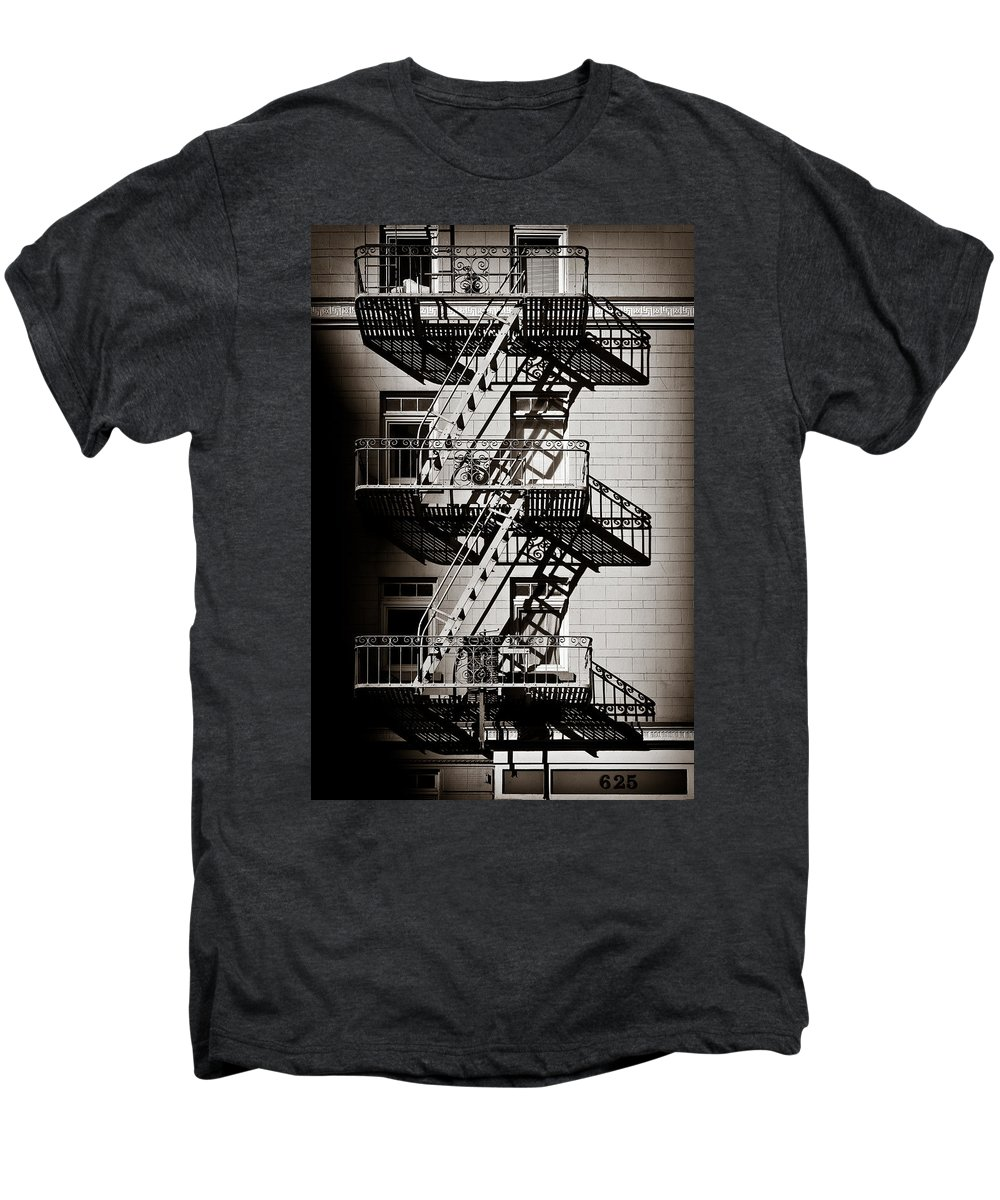 Fire Escape Men's Premium T-Shirt featuring the photograph Escape by Dave Bowman