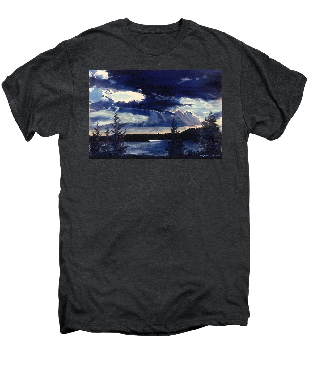 Landscape Men's Premium T-Shirt featuring the painting Evening Lake by Steve Karol