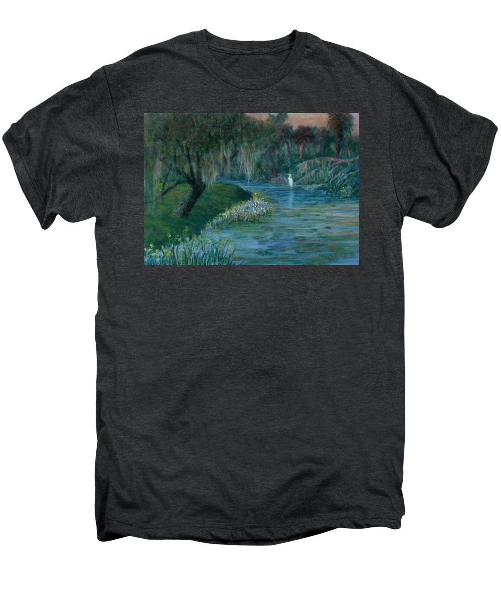 Low Country; Egrets; Lily Pads Men's Premium T-Shirt featuring the painting Evening Shadows by Ben Kiger