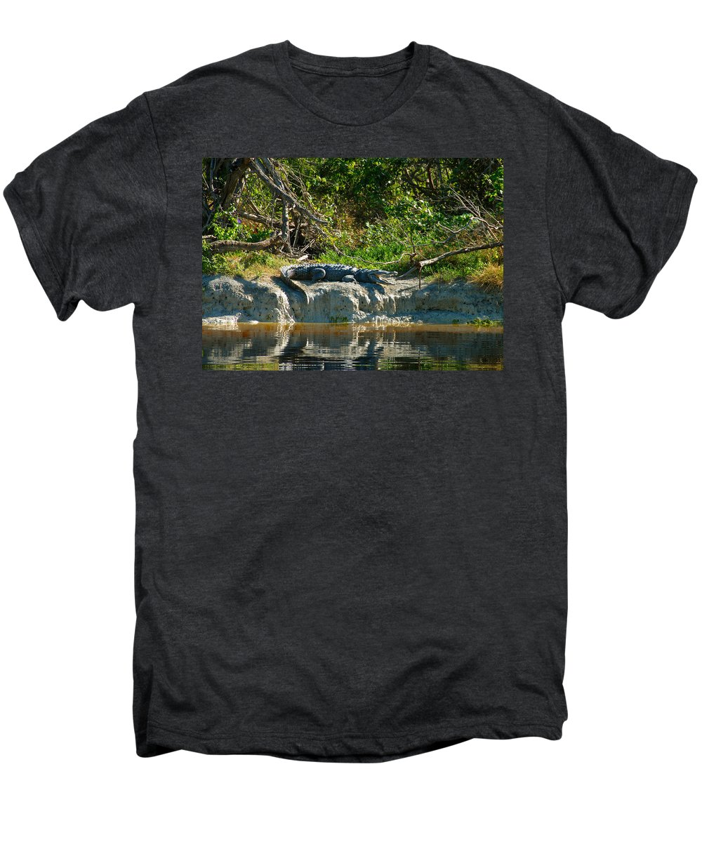 Everglades National Park Men's Premium T-Shirt featuring the photograph Everglades Crocodile by David Lee Thompson