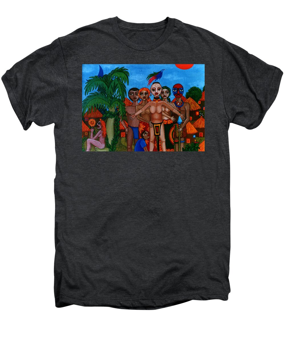 Homeland Men's Premium T-Shirt featuring the painting Exiled In Homeland by Madalena Lobao-Tello