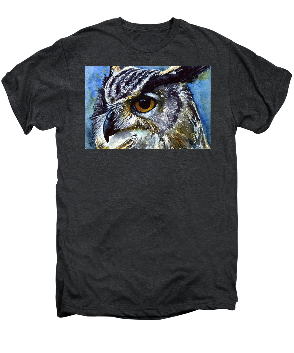 Owls Men's Premium T-Shirt featuring the painting Eyes Of Owls No.25 by John D Benson