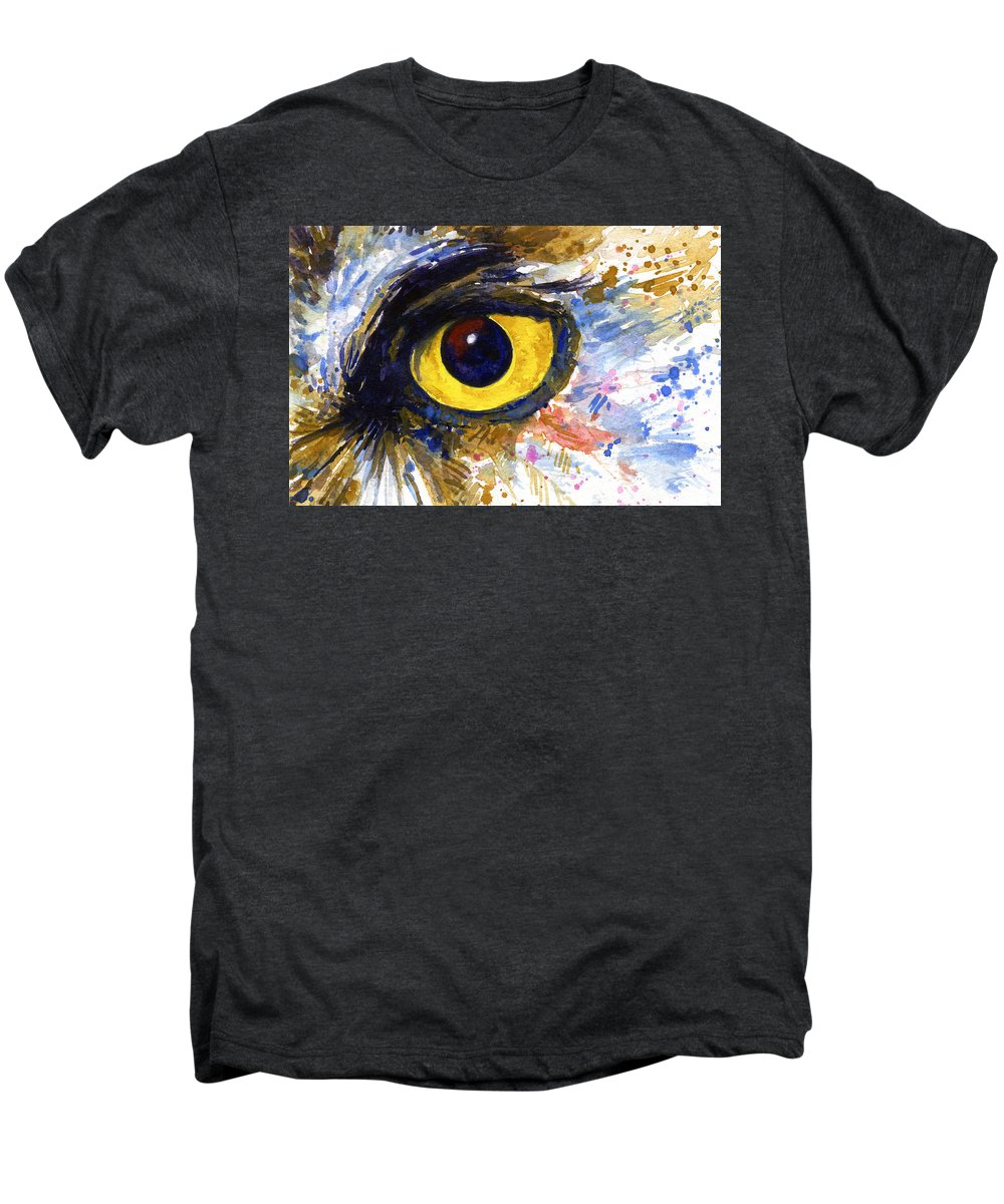 Owls Men's Premium T-Shirt featuring the painting Eyes Of Owl's No.6 by John D Benson