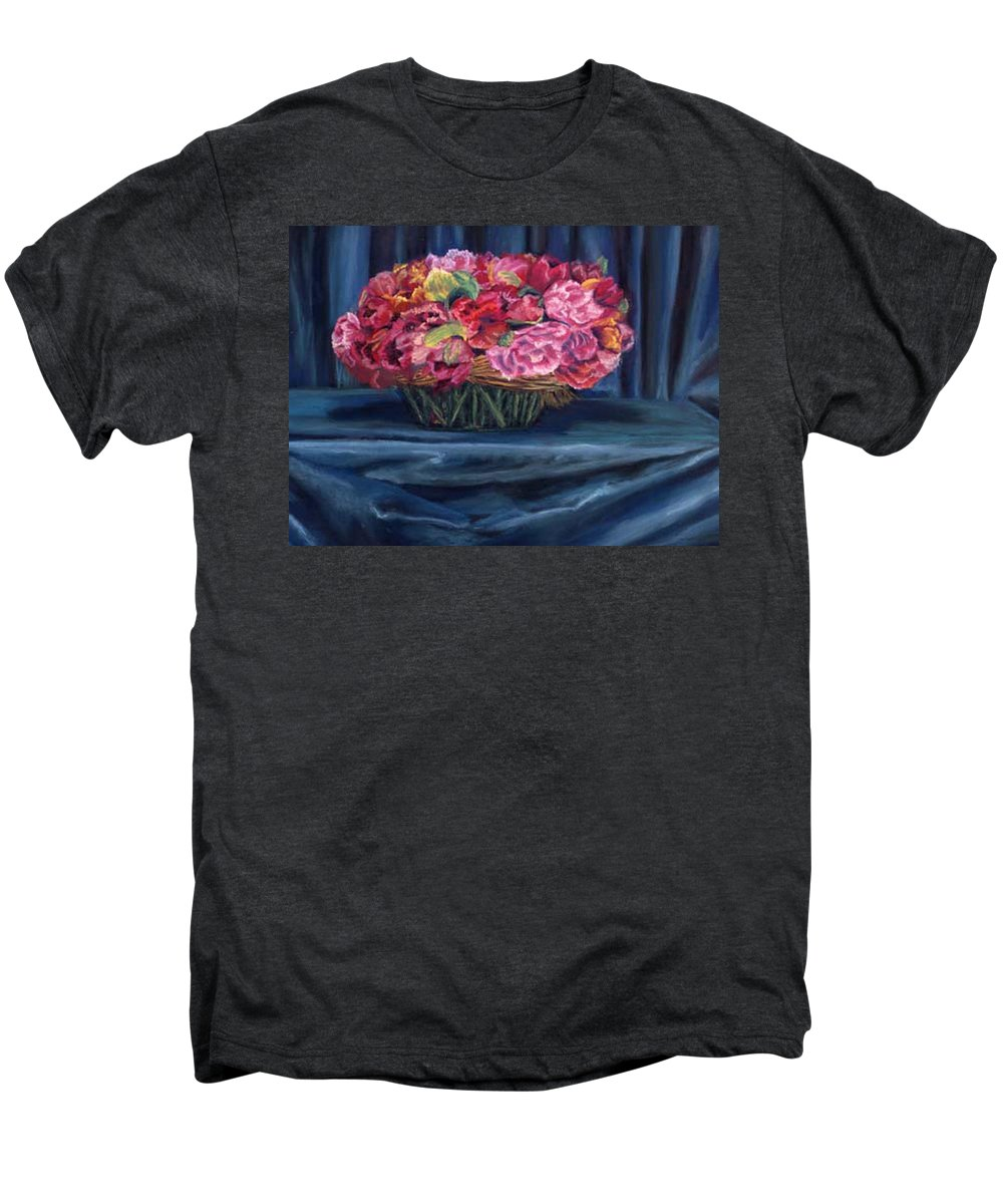 Flowers Men's Premium T-Shirt featuring the painting Fabric And Flowers by Sharon E Allen