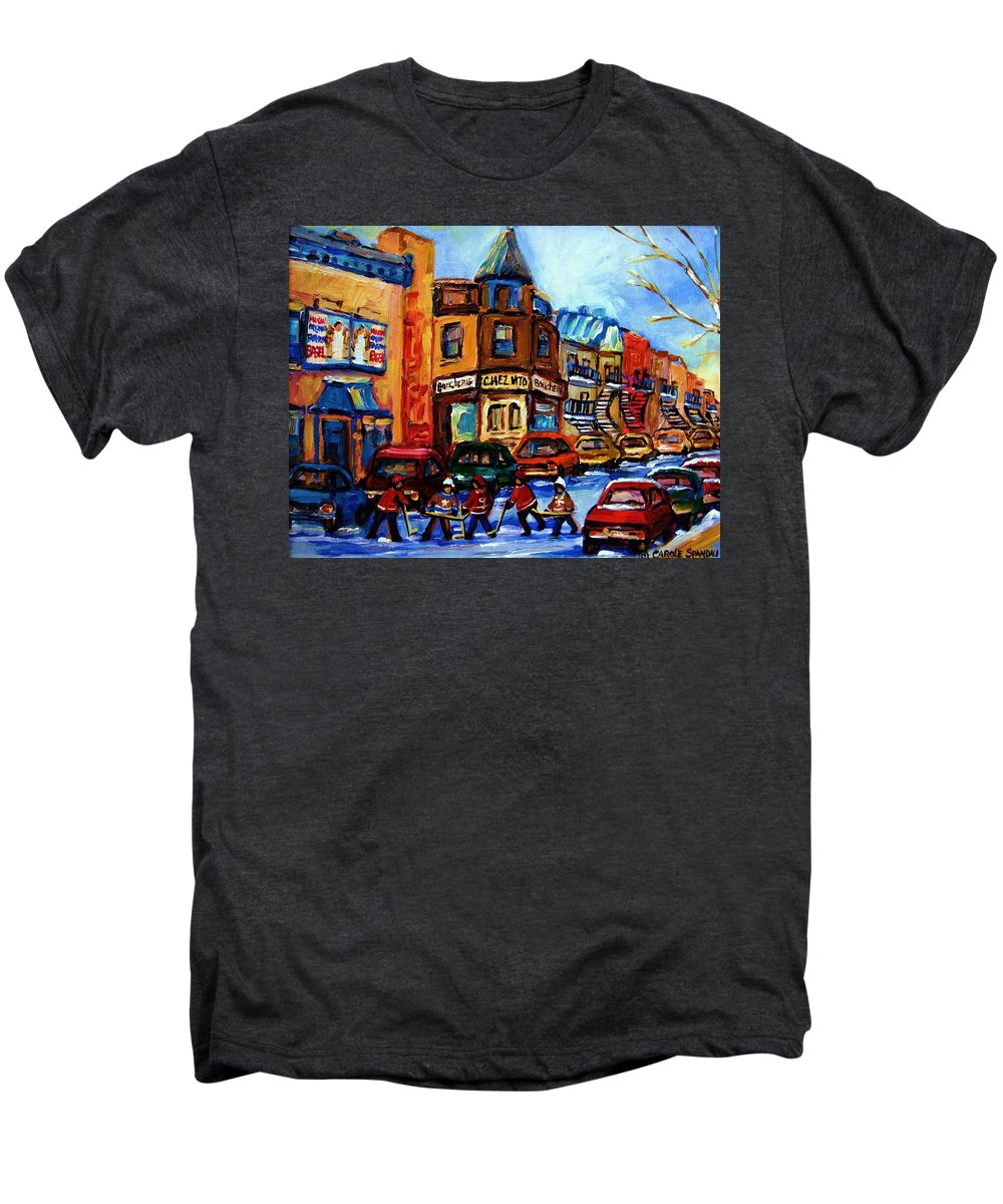 Hockey Men's Premium T-Shirt featuring the painting Fairmount Bagel With Hockey Game by Carole Spandau