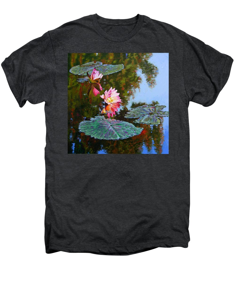 Water Lily Men's Premium T-Shirt featuring the painting Fall Glow by John Lautermilch