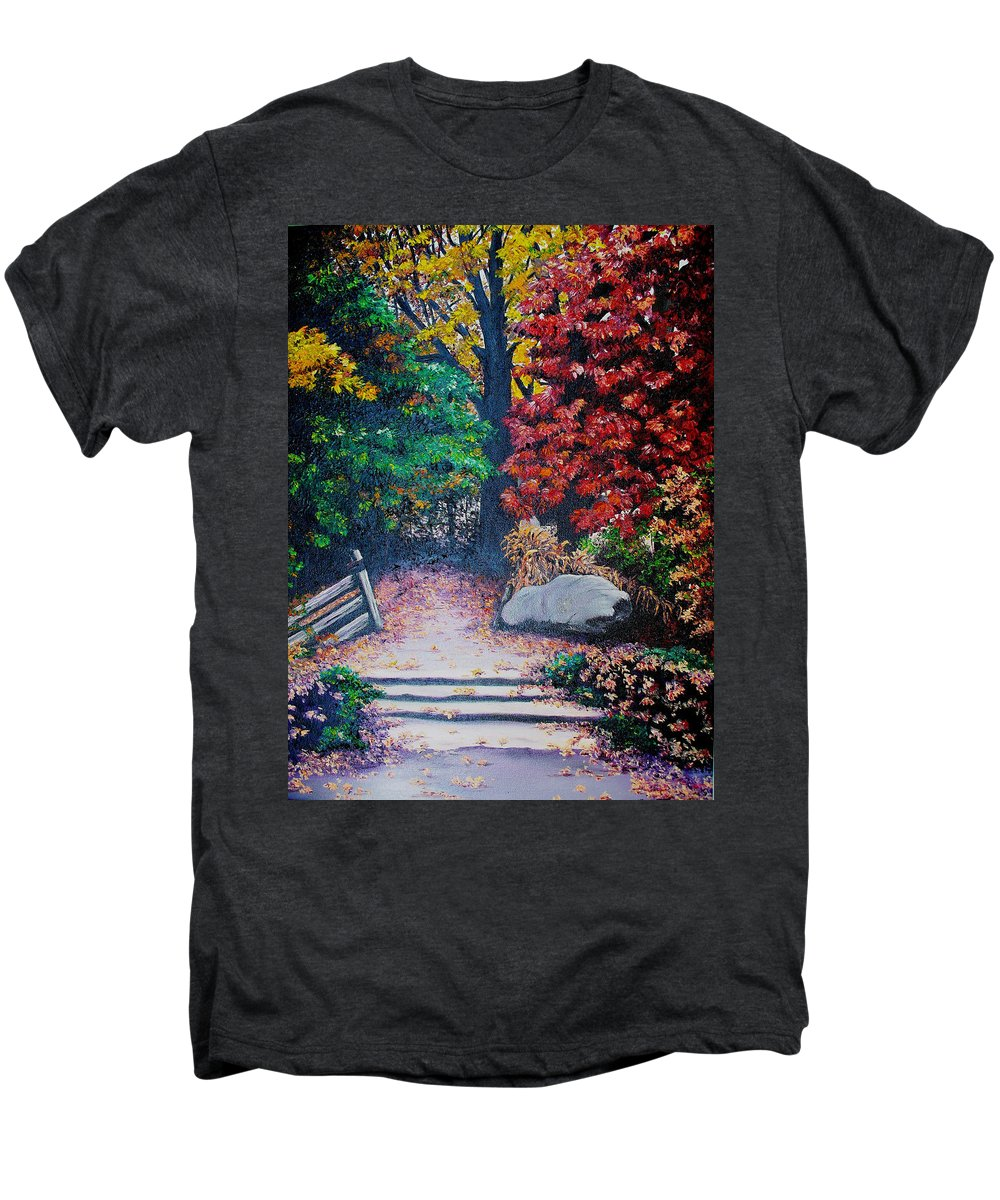 A N Original Painting Of An Autumn Scene In The Gateneau In Quebec Men's Premium T-Shirt featuring the painting Fall In Quebec Canada by Karin Dawn Kelshall- Best