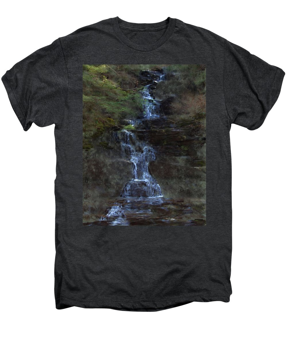 Men's Premium T-Shirt featuring the photograph Falls At 6 Mile Creek Ithaca N.y. by David Lane