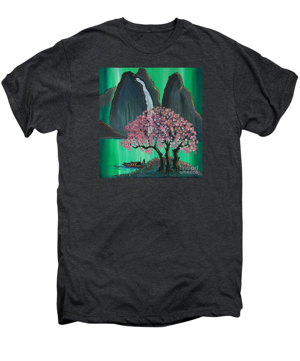 Japan Men's Premium T-Shirt featuring the painting Fantasy Japan by Jacqueline Athmann