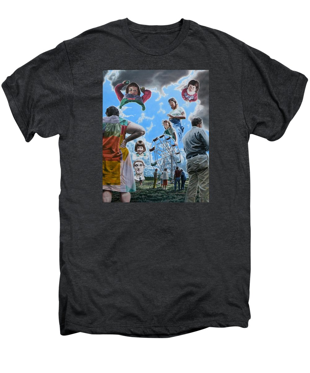 Woman Men's Premium T-Shirt featuring the painting Ferris Wheel by Dave Martsolf
