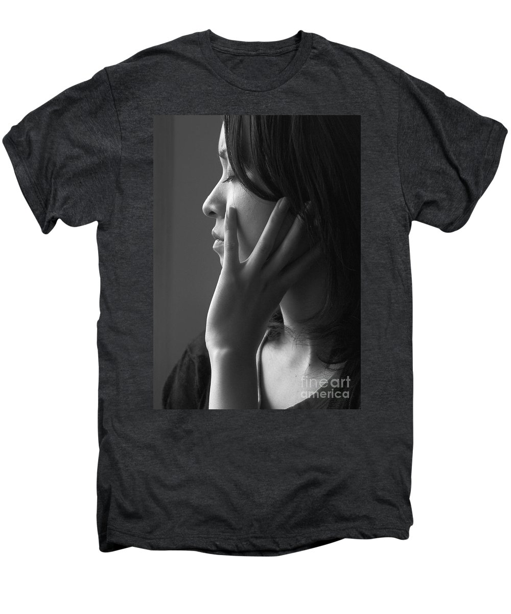 Woman Girl Candid Monochrome Hand Men's Premium T-Shirt featuring the photograph Ferry Girl by Sheila Smart Fine Art Photography