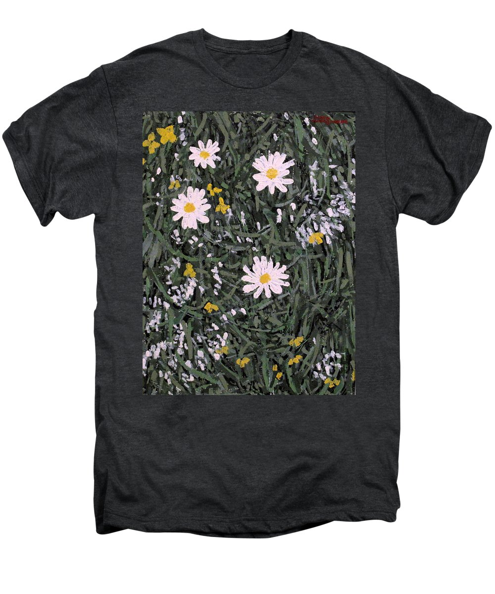 Daisies Men's Premium T-Shirt featuring the painting Field Daisies by Ian MacDonald