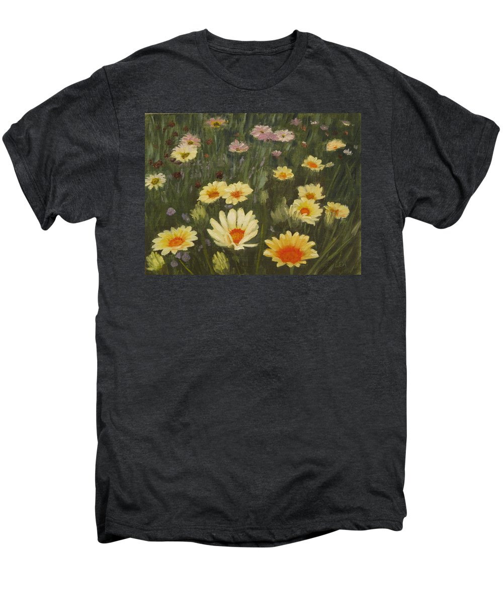 Flower Men's Premium T-Shirt featuring the painting Field Of Flowers by Lea Novak