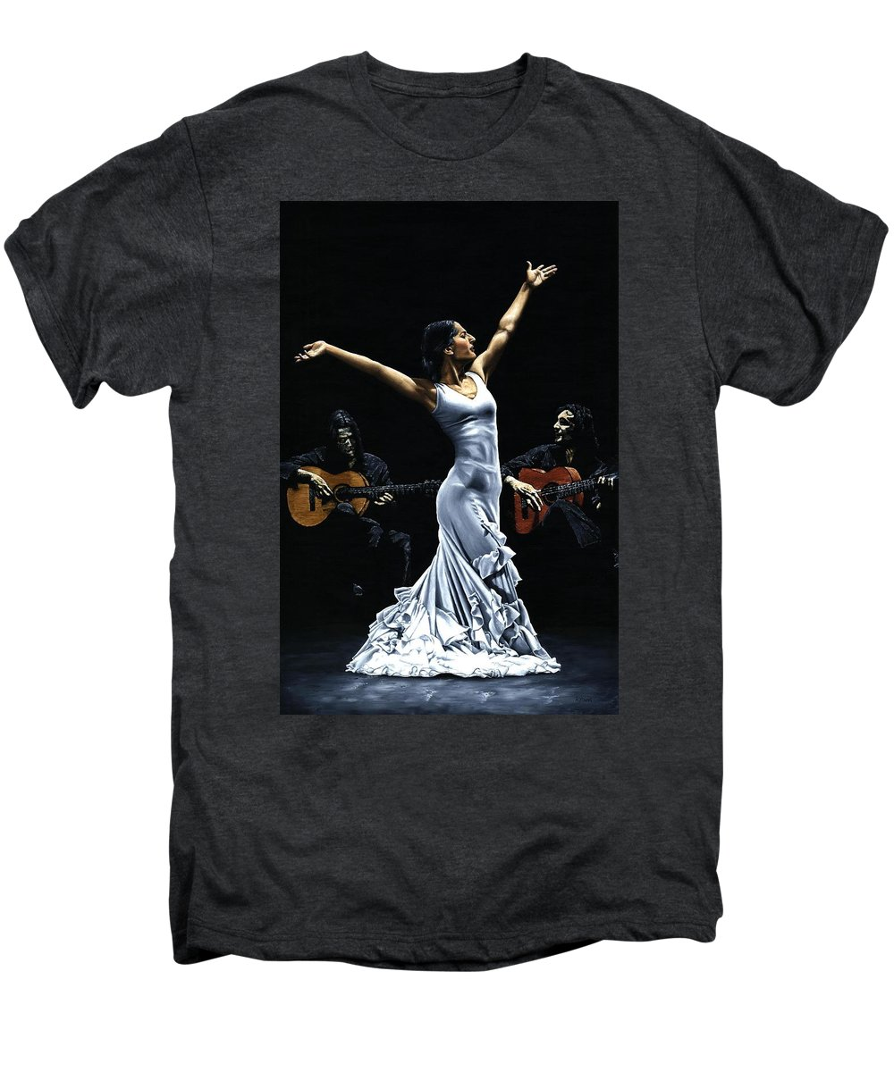 Flamenco Men's Premium T-Shirt featuring the painting Finale Del Funcionamiento Del Flamenco by Richard Young