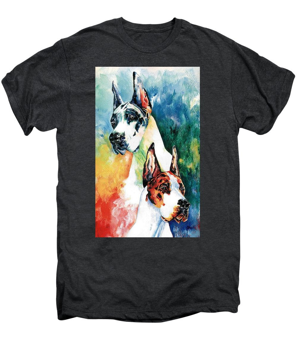 Great Dane Men's Premium T-Shirt featuring the painting Fire And Ice by Kathleen Sepulveda