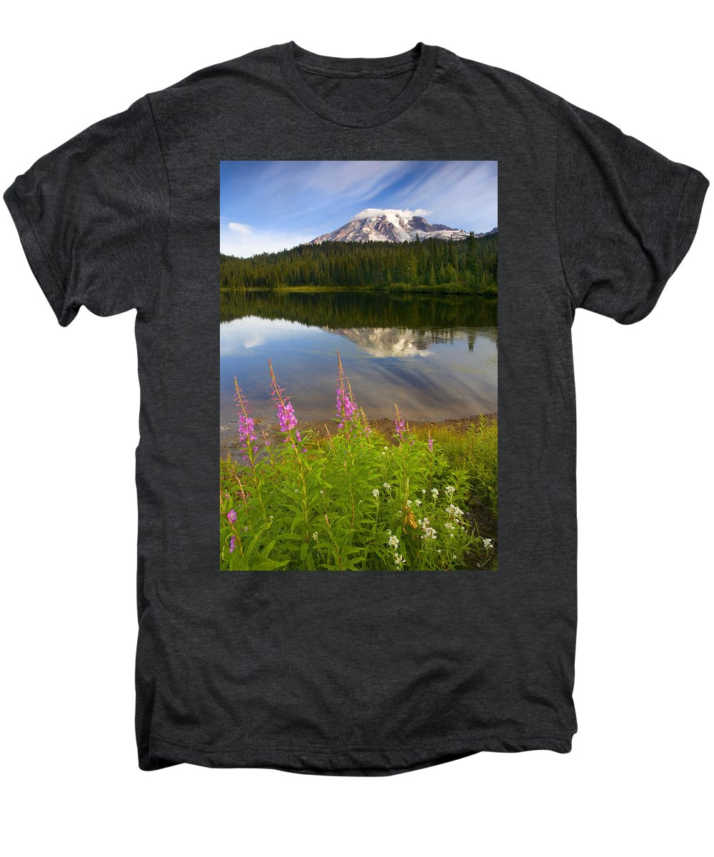 Fireweed Men's Premium T-Shirt featuring the photograph Fireweed Reflections by Mike Dawson