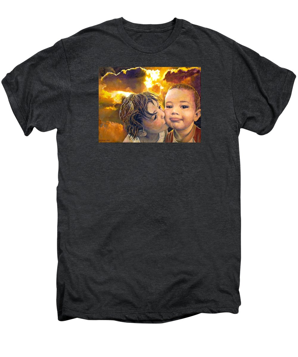 Children Men's Premium T-Shirt featuring the painting First Kiss by Michael Durst