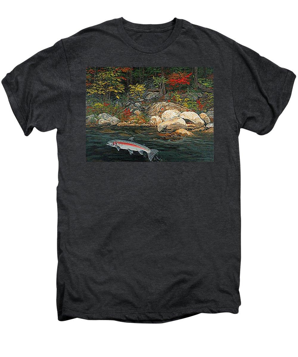 Art Men's Premium T-Shirt featuring the painting Fish Art Jumping Silver Steelhead Trout Art Nature Artwork Giclee Wildlife Underwater Wall Art Work by Baslee Troutman