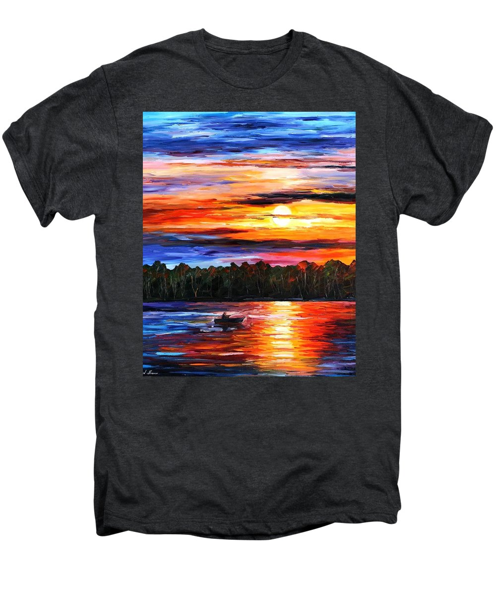 Seascape Men's Premium T-Shirt featuring the painting Fishing By The Sunset by Leonid Afremov