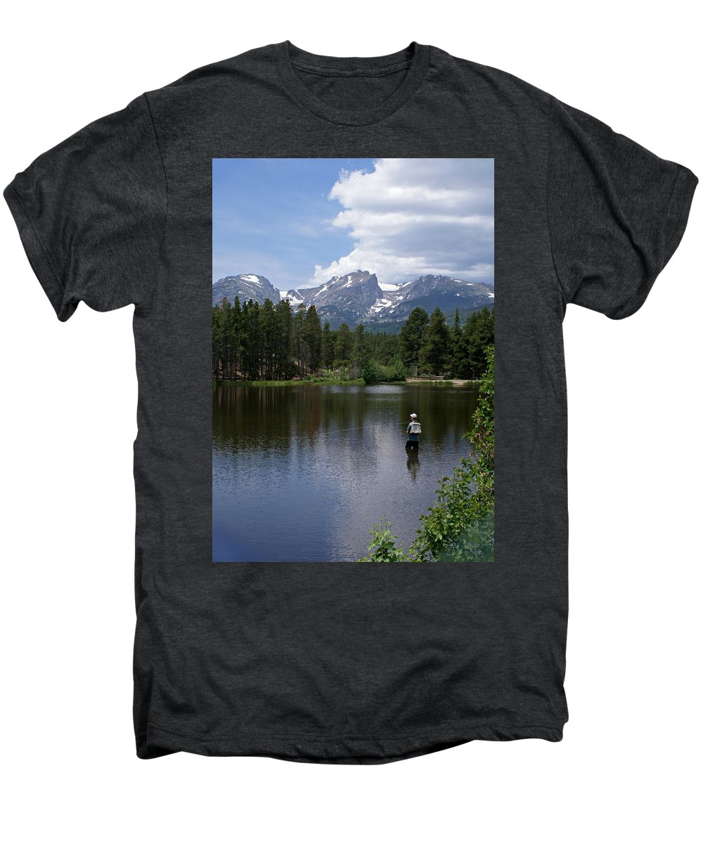 Fishing Men's Premium T-Shirt featuring the photograph Fishing In Colorado by Heather Coen