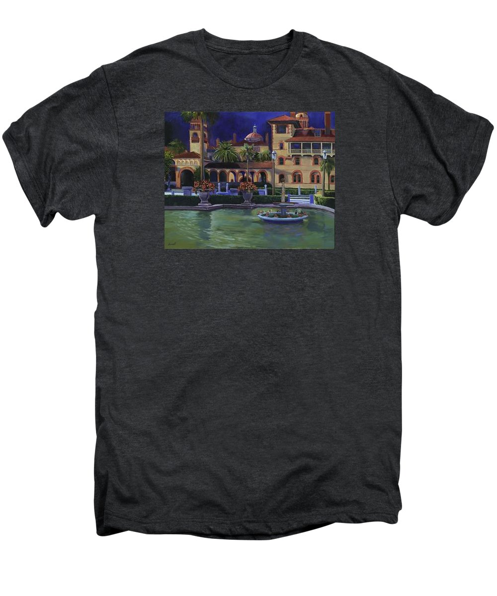 St. Augustine\'s Flagler College Campus Men's Premium T-Shirt featuring the painting Flagler College II by Christine Cousart