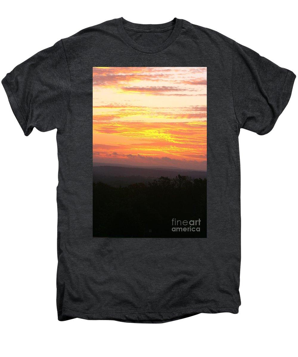 Sunrise Men's Premium T-Shirt featuring the photograph Flaming Autumn Sunrise by Nadine Rippelmeyer