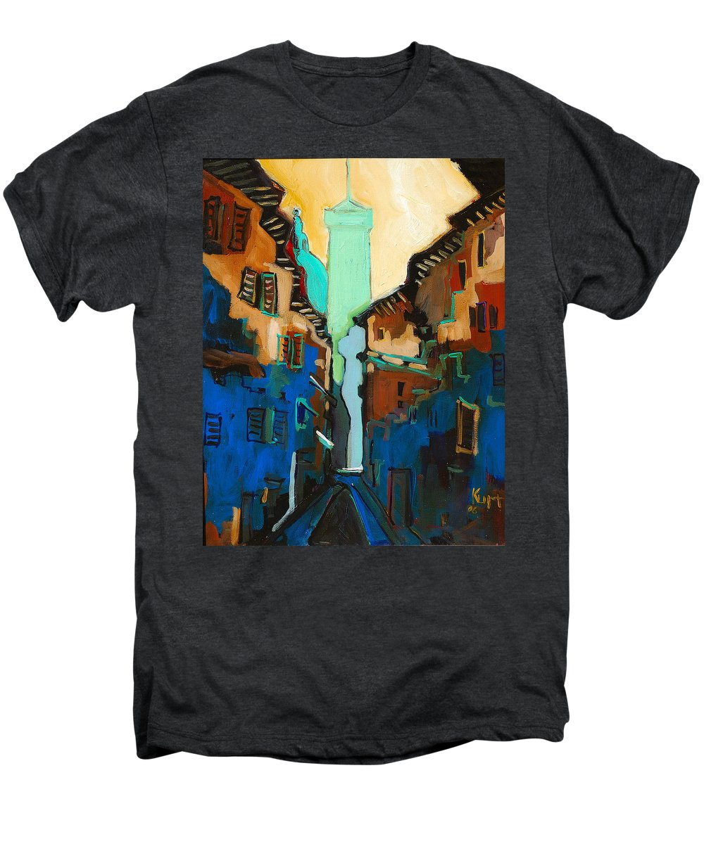 Florence Men's Premium T-Shirt featuring the painting Florence Street Study by Kurt Hausmann
