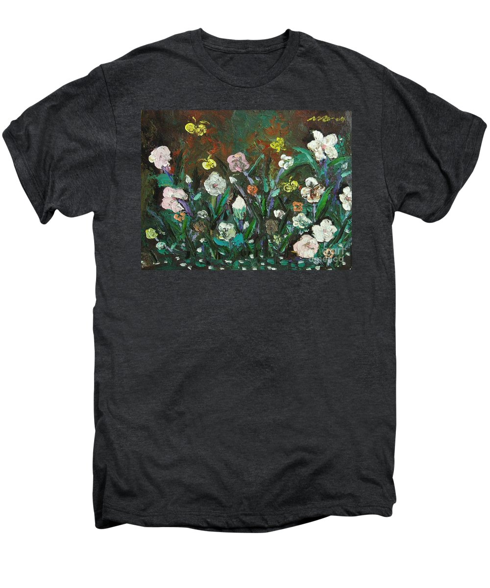 Abstract Paintings Men's Premium T-Shirt featuring the painting Flower Garden by Seon-Jeong Kim
