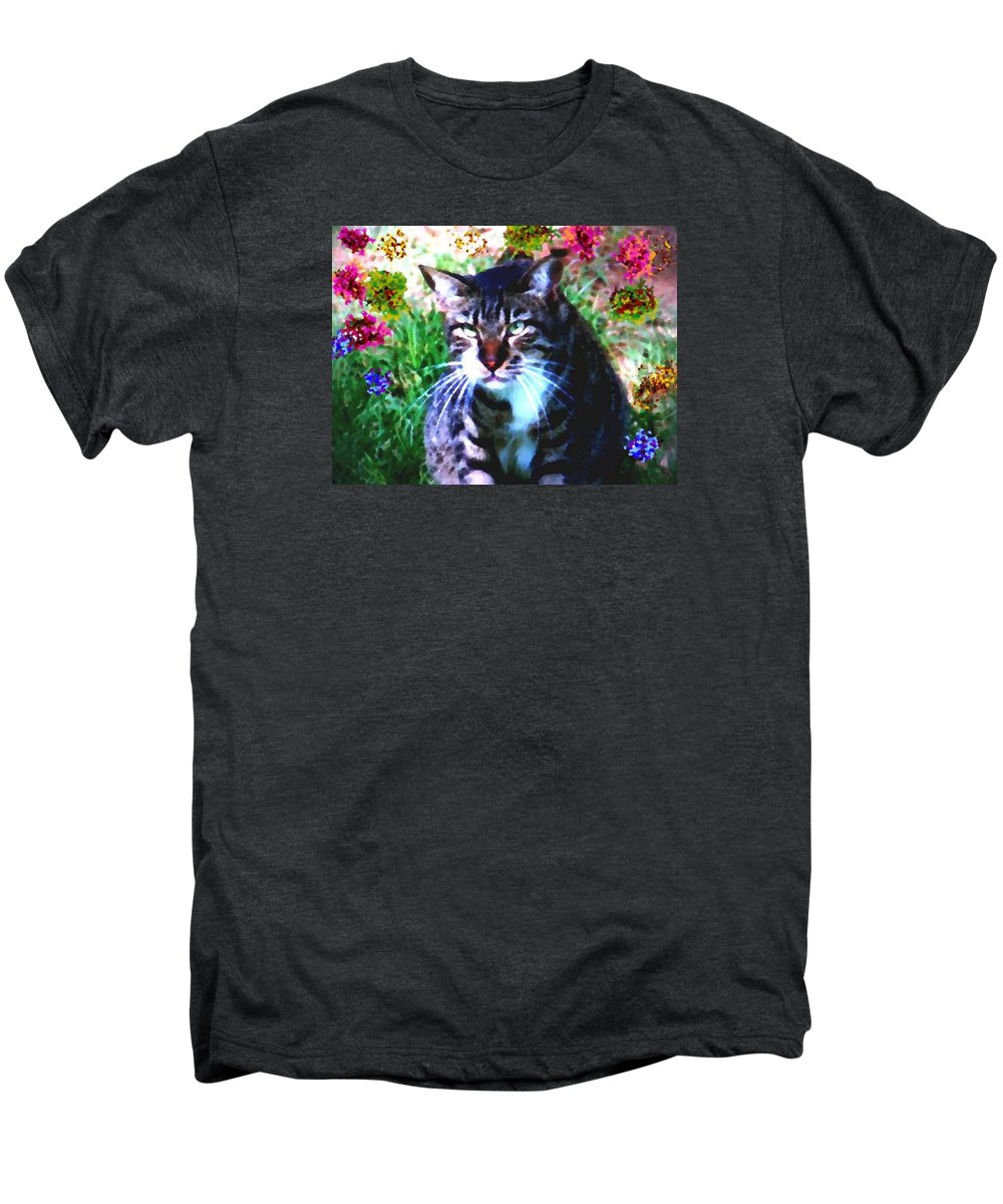 Cat Grey Attention Grass Flowers Nature Animals View Men's Premium T-Shirt featuring the digital art Flowers And Cat by Dr Loifer Vladimir