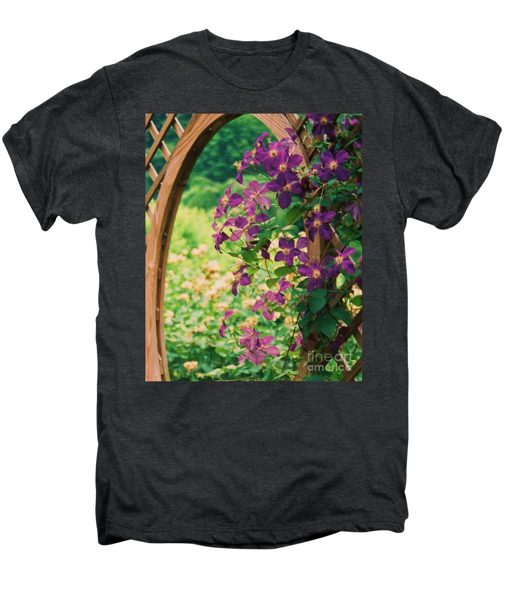 Floral Men's Premium T-Shirt featuring the painting Flowers On Vine by Eric Schiabor