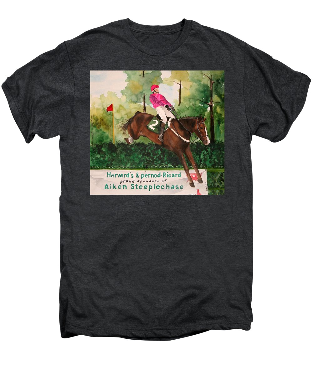 Horse Men's Premium T-Shirt featuring the painting Flying High by Jean Blackmer