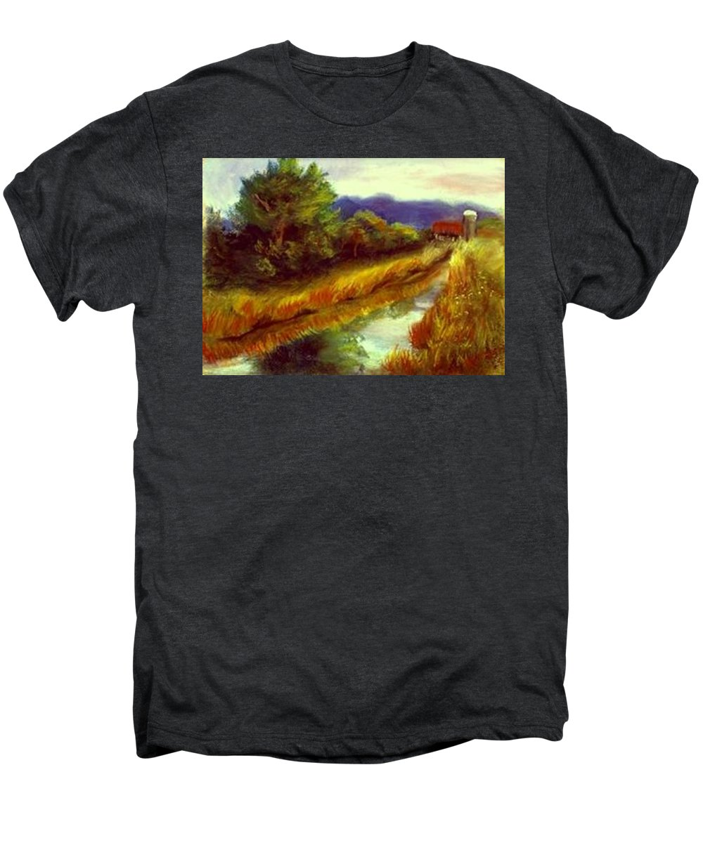Landscape Men's Premium T-Shirt featuring the painting For A Thirsty Land by Gail Kirtz
