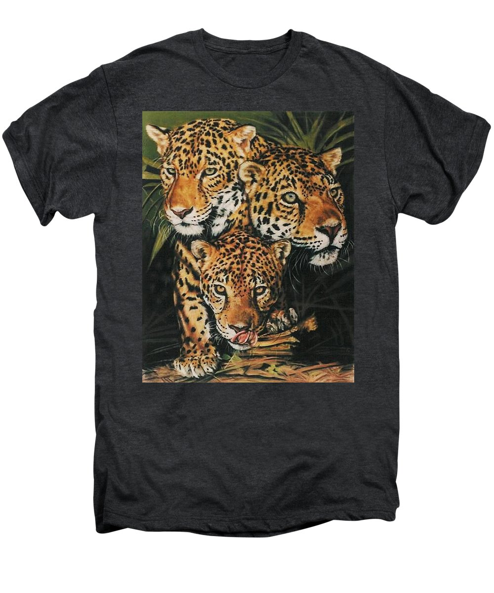 Jaguar Men's Premium T-Shirt featuring the pastel Forest Jewels by Barbara Keith