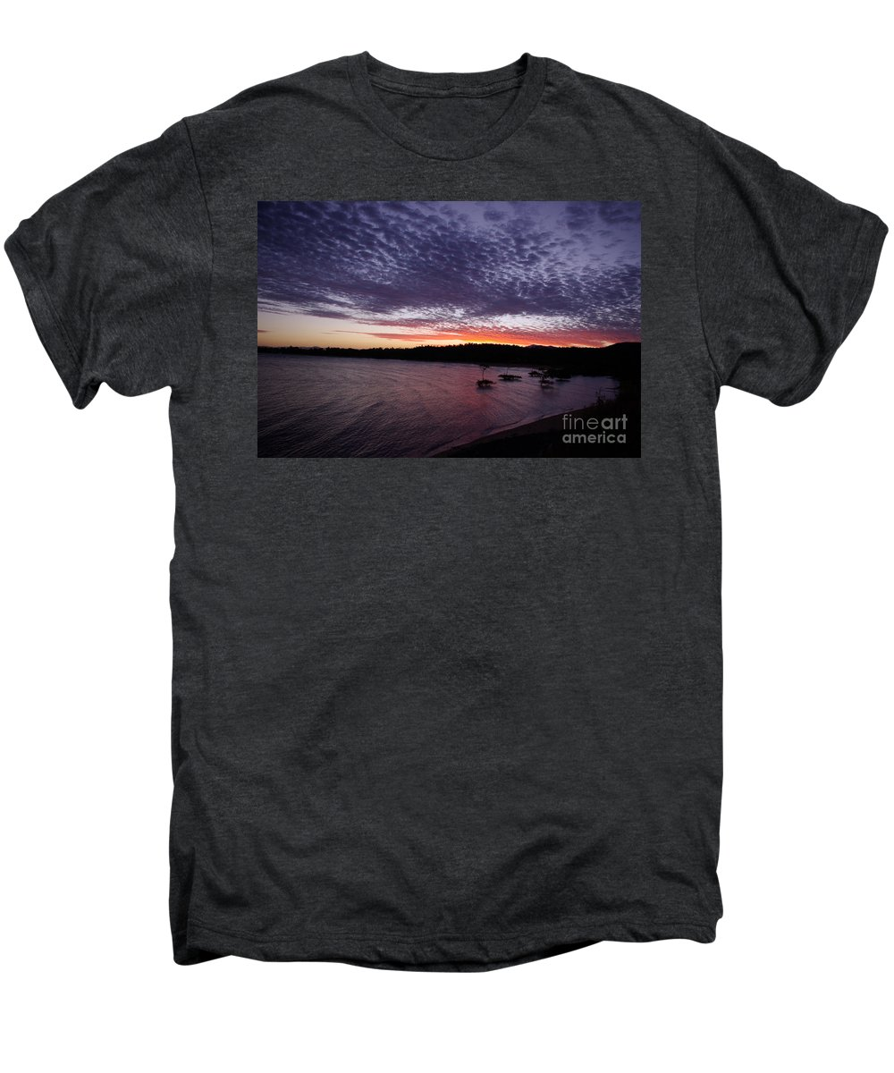 Landscape Men's Premium T-Shirt featuring the photograph Four Elements Sunset Sequence 7 Coconuts Qld by Kerryn Madsen - Pietsch