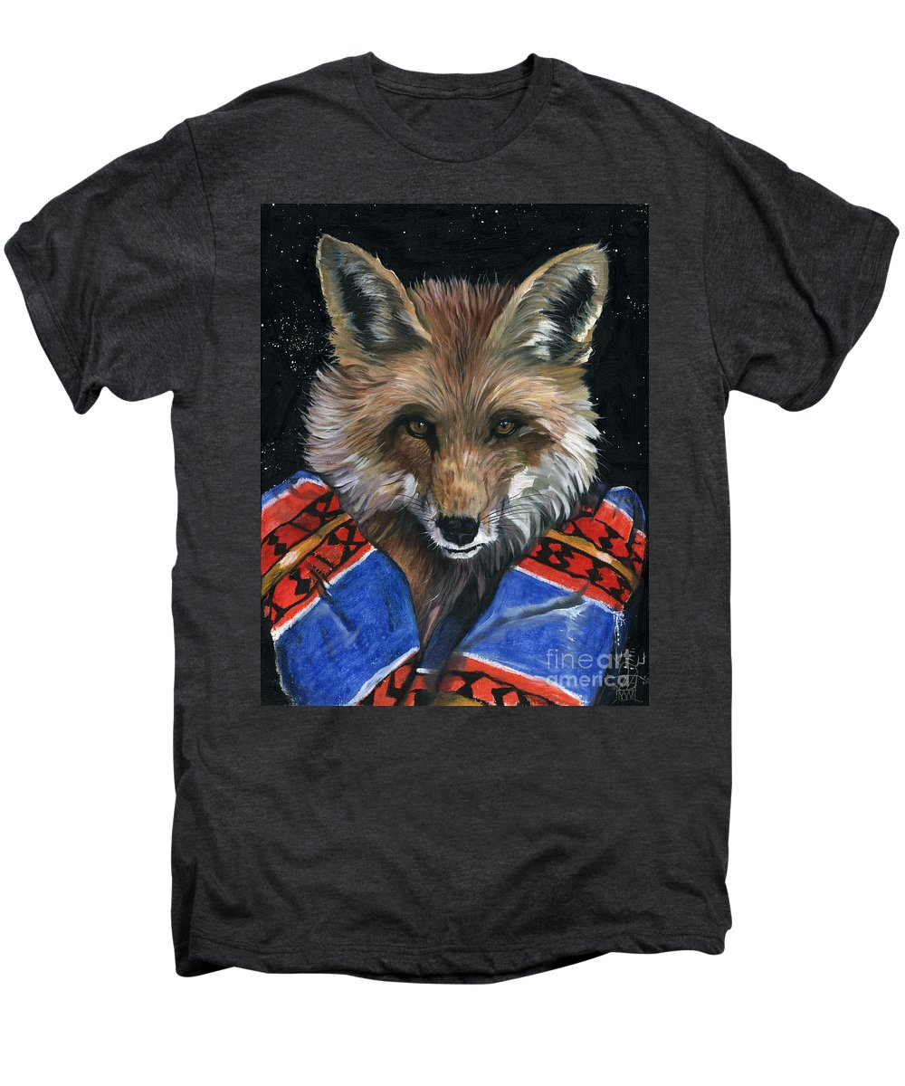Fox Men's Premium T-Shirt featuring the painting Fox Medicine by J W Baker