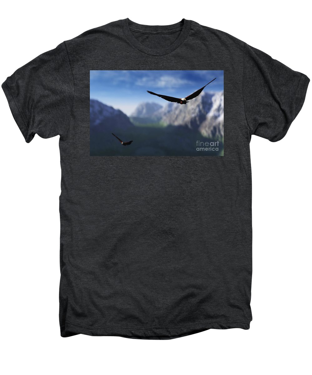 Eagles Men's Premium T-Shirt featuring the digital art Free Bird by Richard Rizzo