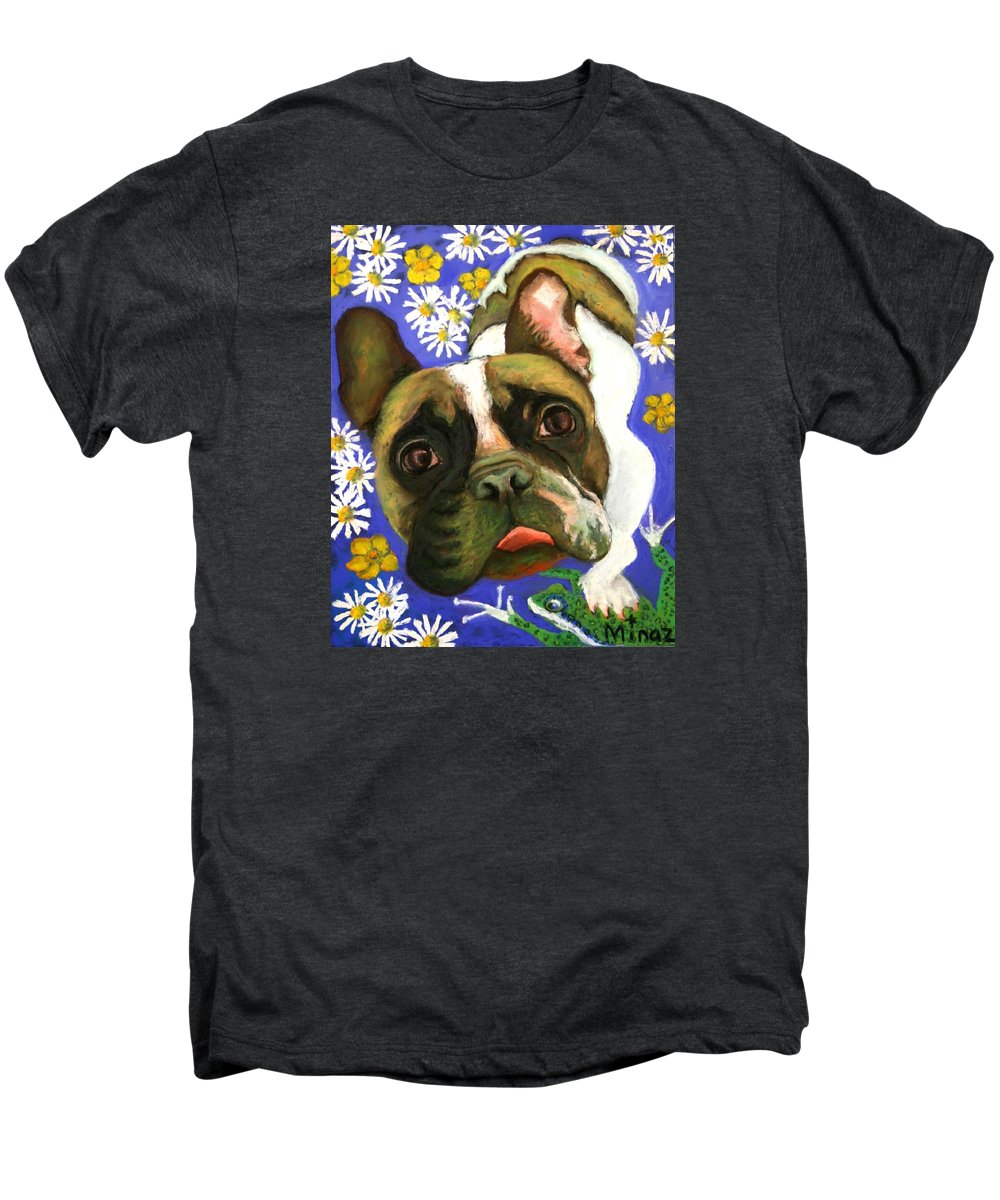 Pet Portrait Men's Premium T-Shirt featuring the painting Frenchie Plays With Frogs by Minaz Jantz