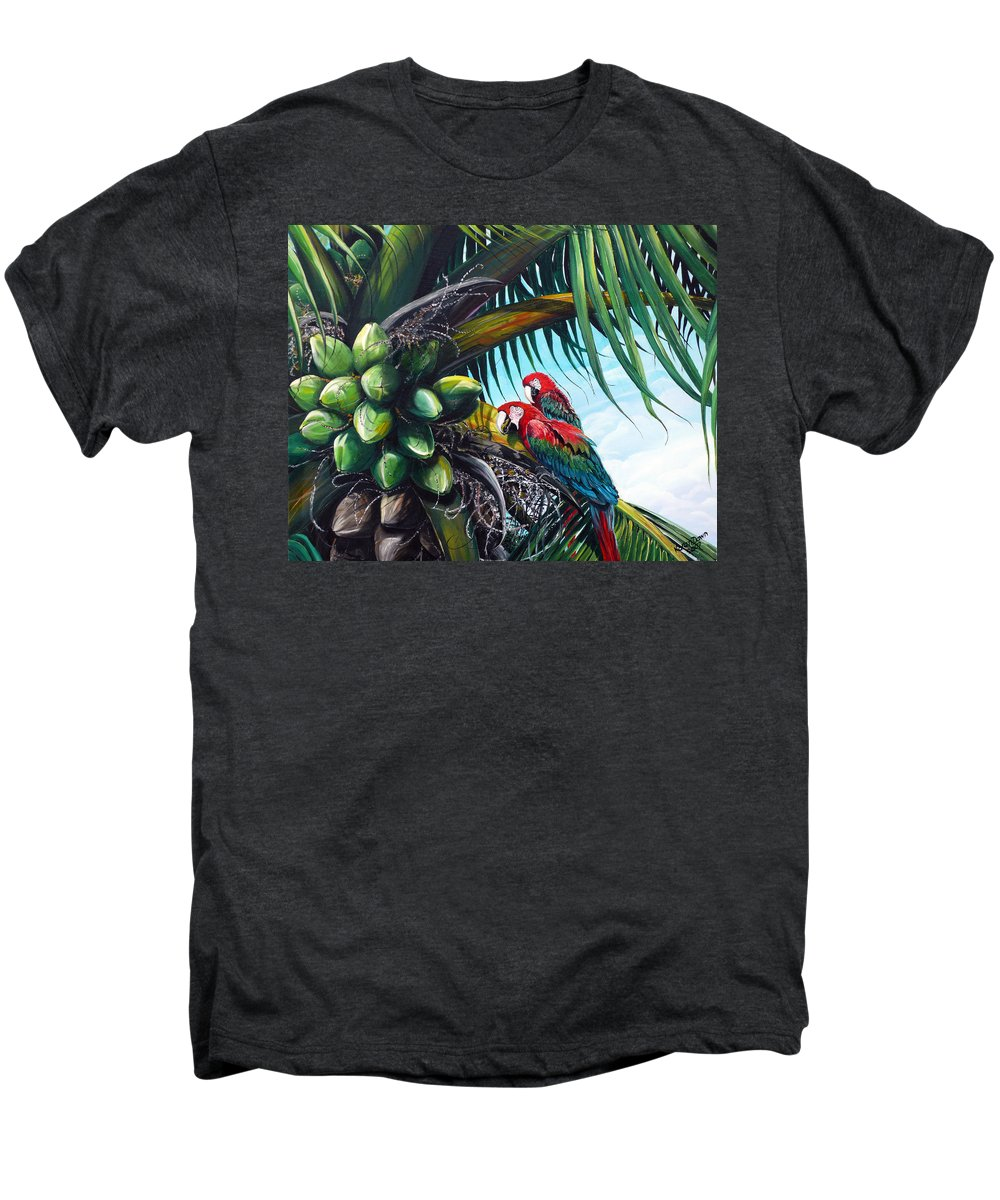 Macaws Bird Painting Coconut Palm Tree Painting Parrots Caribbean Painting Tropical Painting Coconuts Painting Palm Tree Greeting Card Painting Men's Premium T-Shirt featuring the painting Friends Of A Feather by Karin Dawn Kelshall- Best