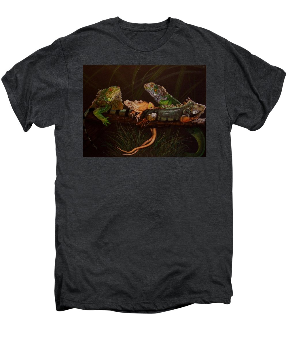 Iguana Men's Premium T-Shirt featuring the drawing Full House by Barbara Keith