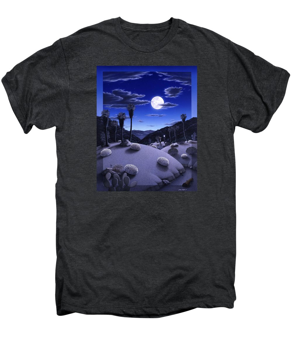Desert Men's Premium T-Shirt featuring the painting Full Moon Rising by Snake Jagger