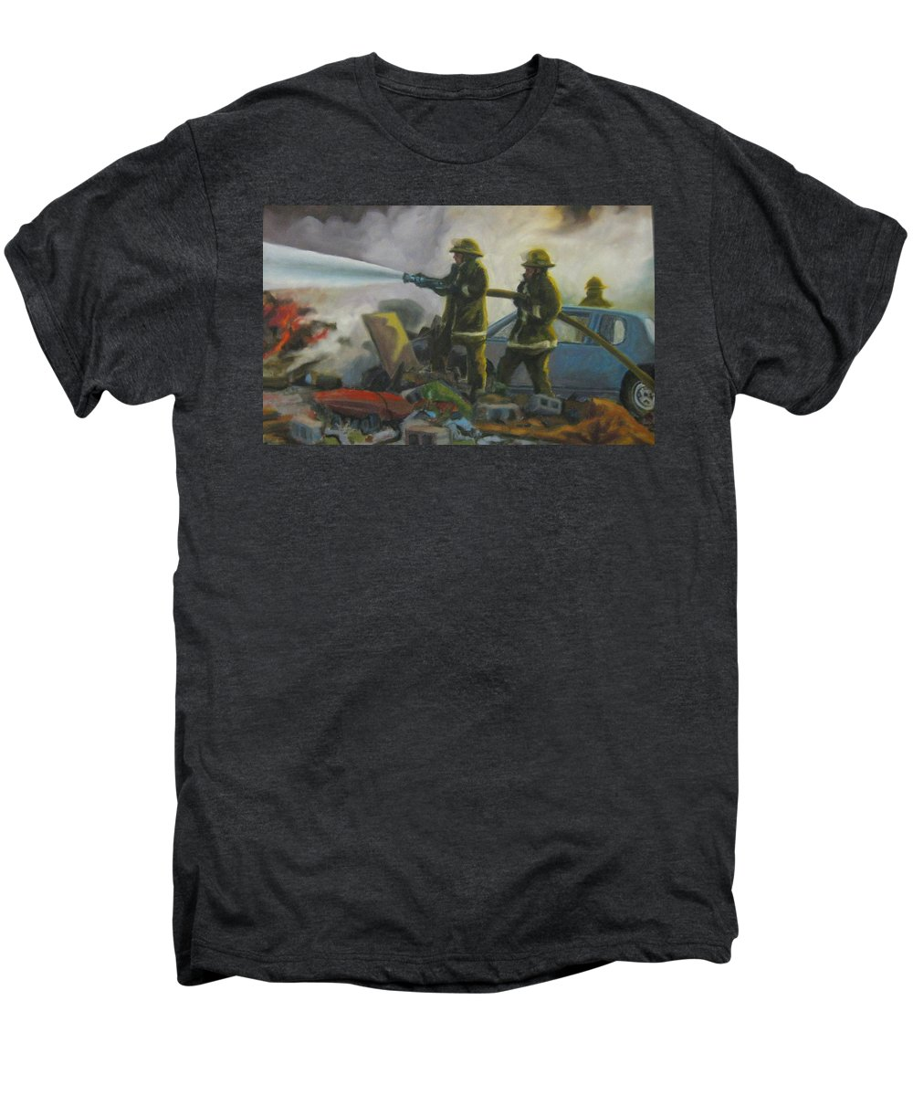 Firefighters Men's Premium T-Shirt featuring the painting Garage Fire by John Malone