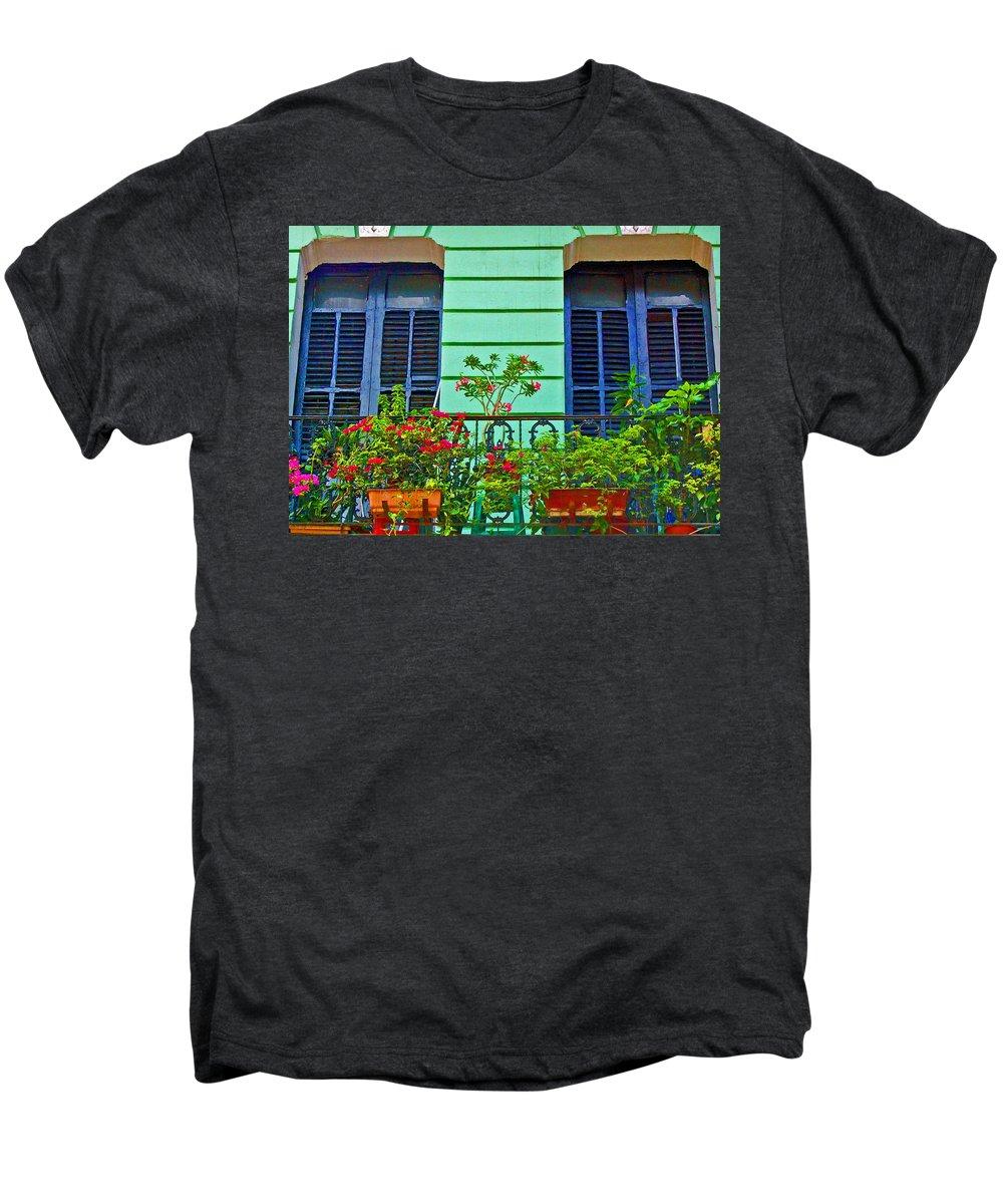 Garden Men's Premium T-Shirt featuring the photograph Garden Balcony by Debbi Granruth