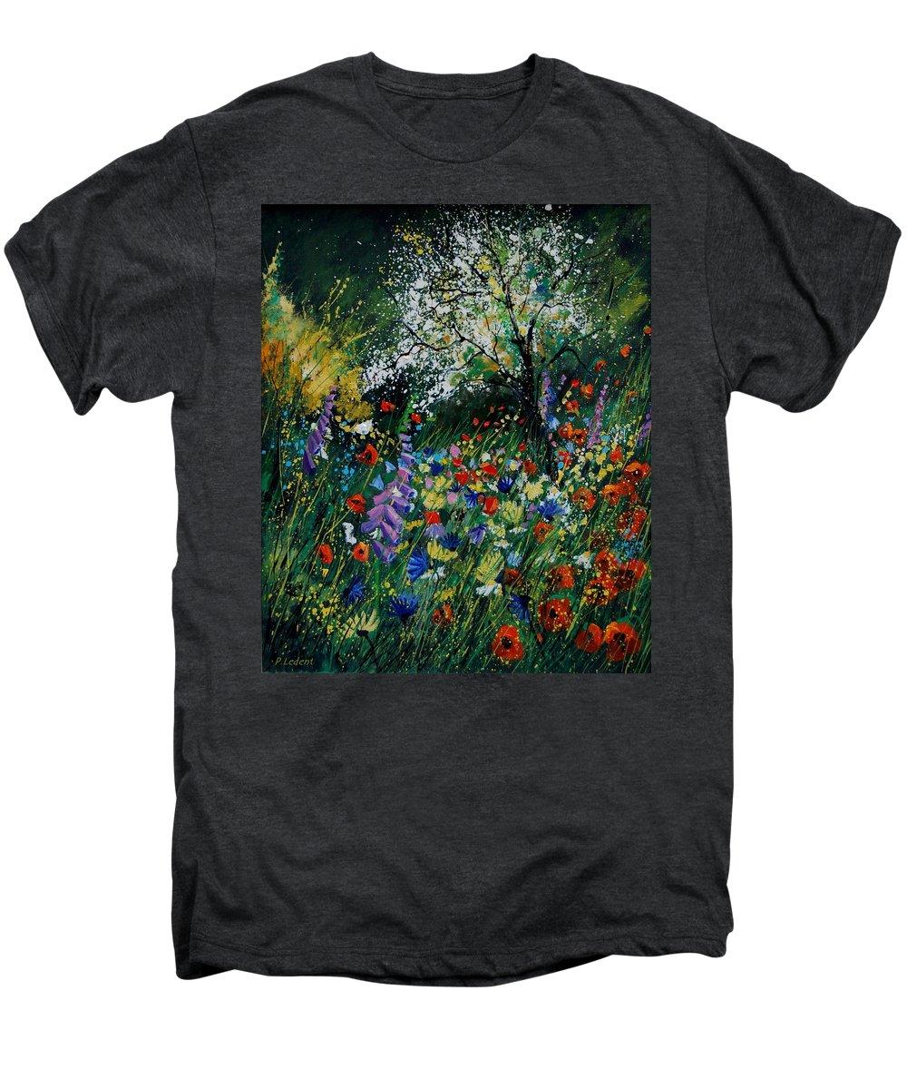Flowers Men's Premium T-Shirt featuring the painting Garden Flowers by Pol Ledent