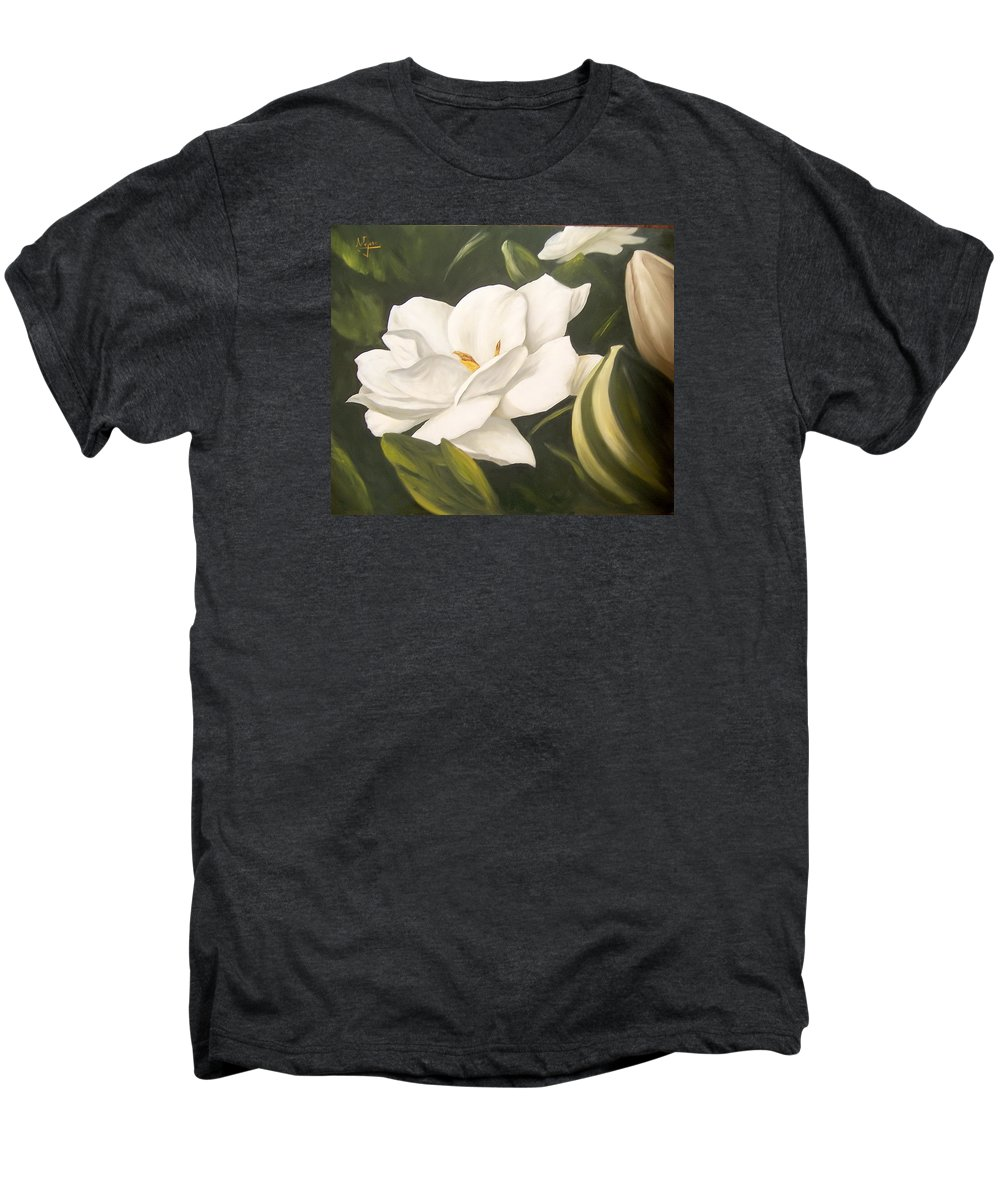 Gardenia Flower Men's Premium T-Shirt featuring the painting Gardenia by Natalia Tejera