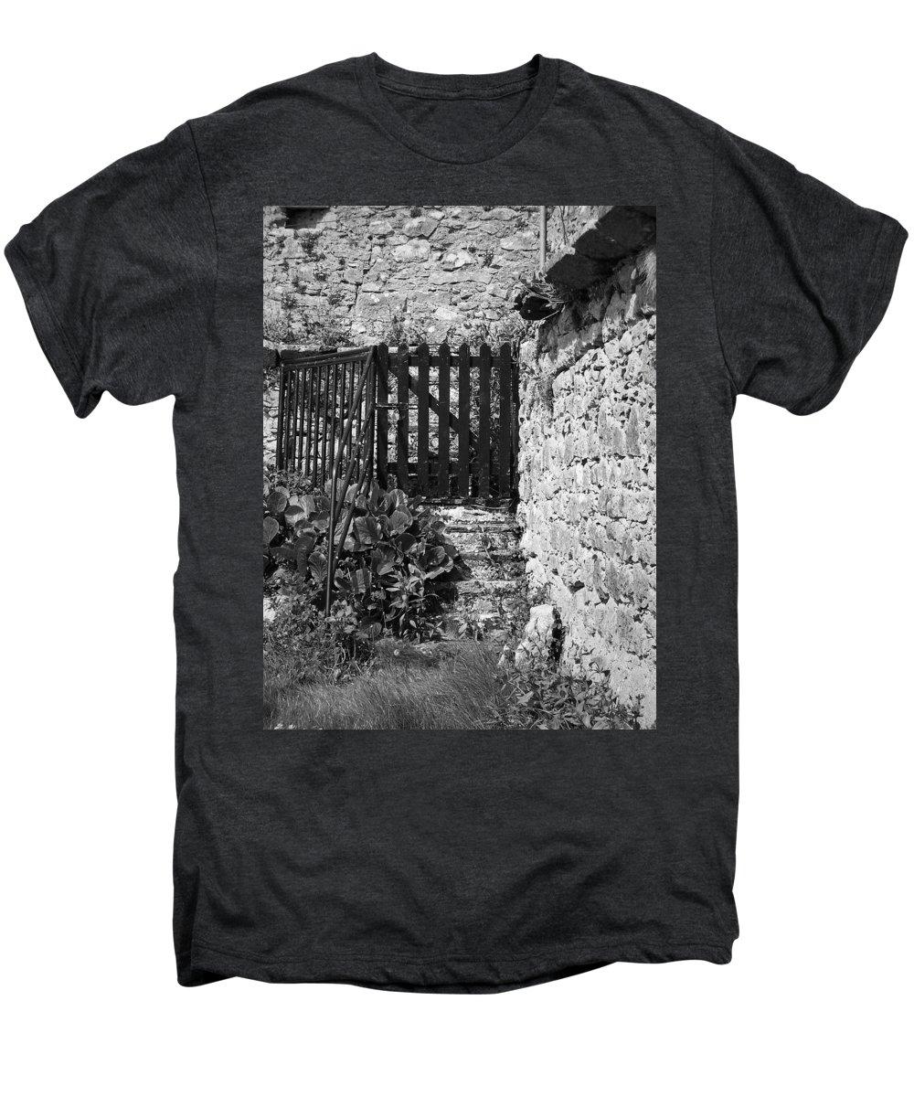 Irish Men's Premium T-Shirt featuring the photograph Gate At Dunguaire Castle Kinvara Ireland by Teresa Mucha
