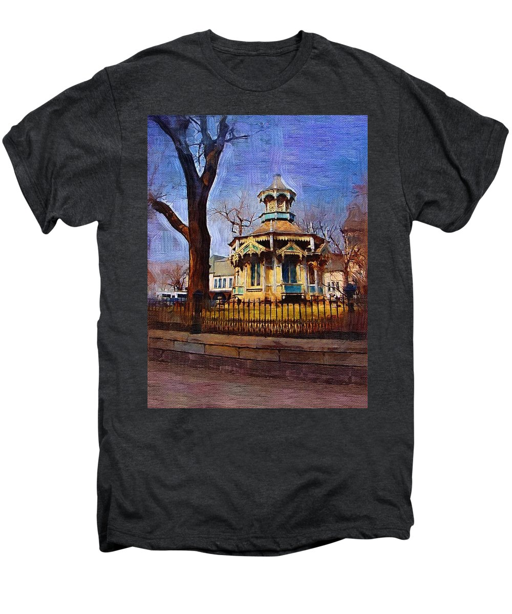Architecture Men's Premium T-Shirt featuring the digital art Gazebo And Tree by Anita Burgermeister