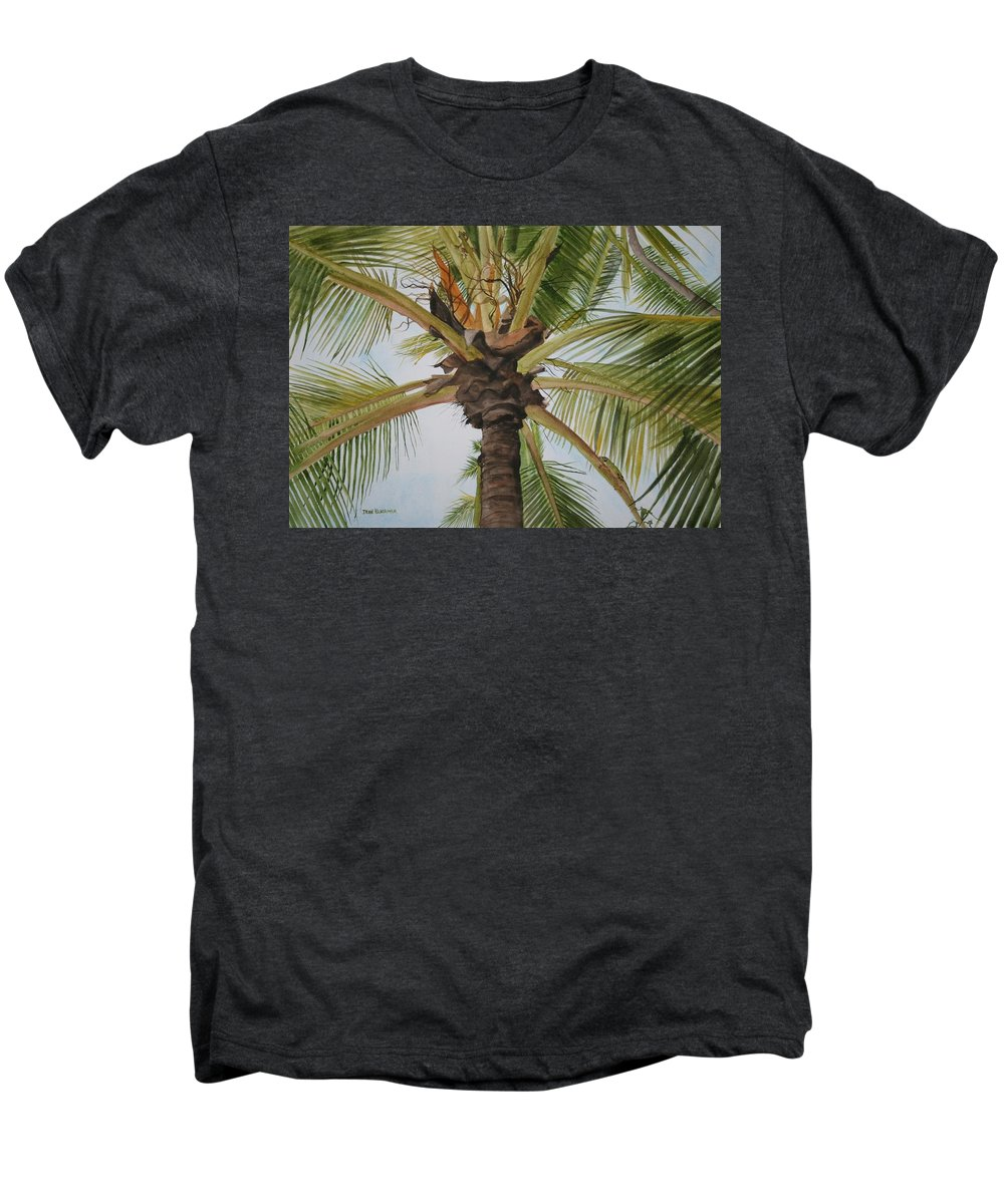 Palm Tree Men's Premium T-Shirt featuring the painting Gecko Heaven by Jean Blackmer