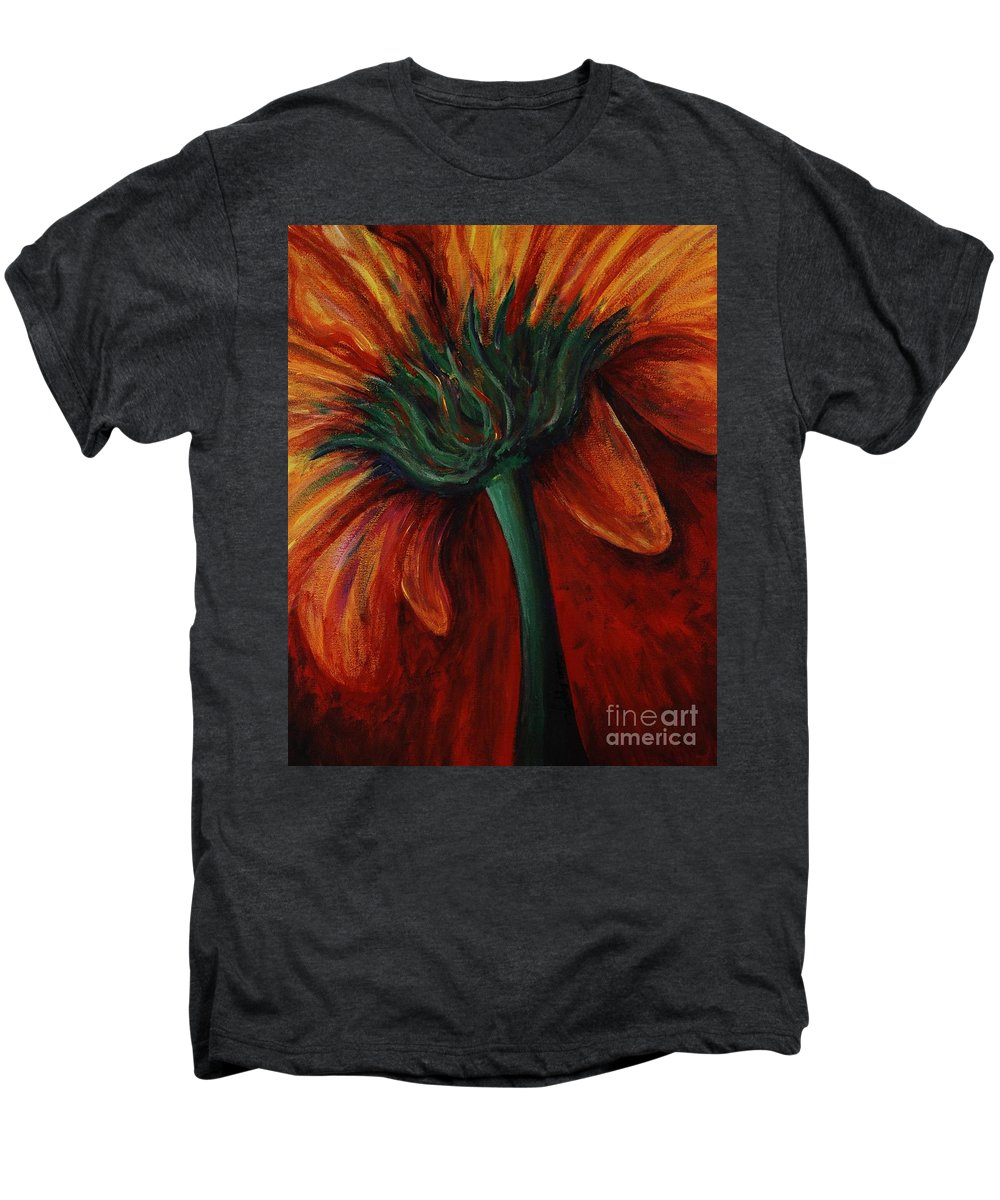 Gerbera Daisy.daisy Men's Premium T-Shirt featuring the painting Gerbera Daisy by Nadine Rippelmeyer