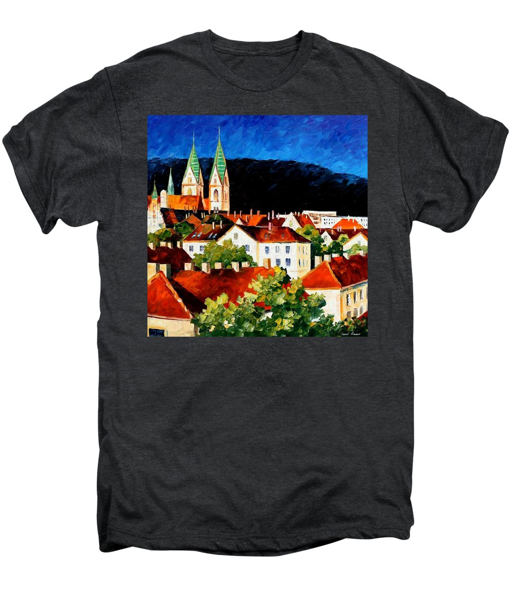 City Men's Premium T-Shirt featuring the painting Germany - Freiburg by Leonid Afremov