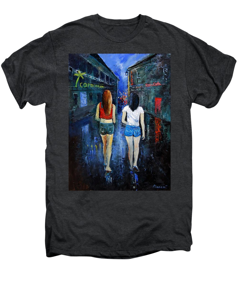 Girl Men's Premium T-Shirt featuring the painting Going Out Tonight by Pol Ledent